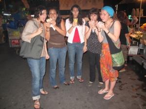 Eating falafel at the Kao San Road night market