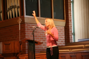 At the presbytery examination, answering questions (and apparently demonstrating a new pilates stretch)